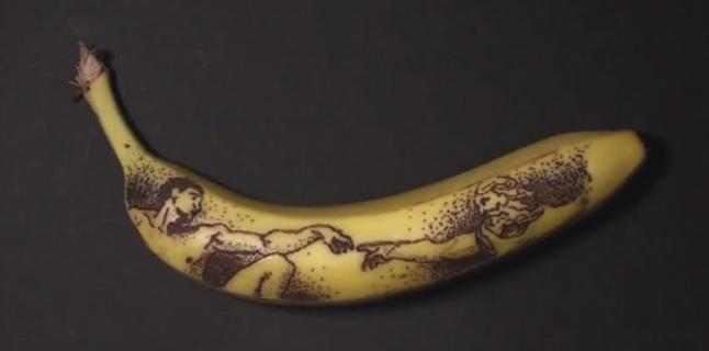 Quando a casca de banana vira tela para arte